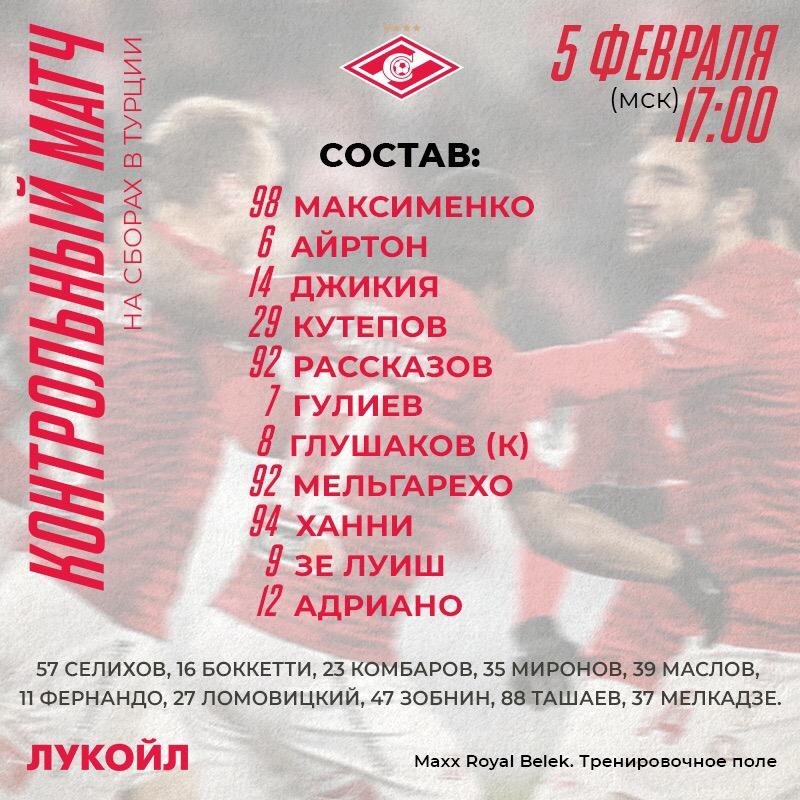 Состав «Спартака» на матч с «Марибором»