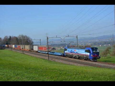 Bahnverkehr auf der Südbahn am 19 03 20 Bunter Verkehr in Waltenschwil und Mühlau