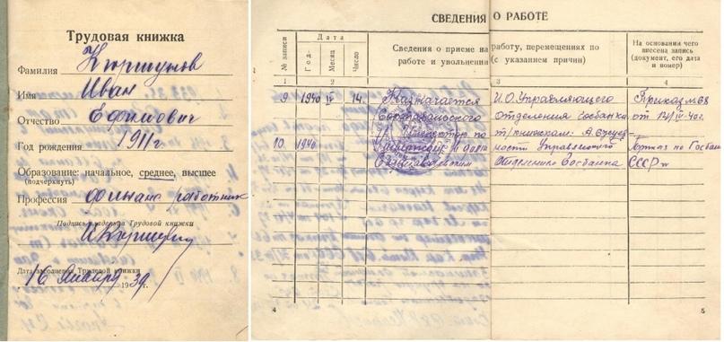 Трудовая книжка И.Е. Кюршунова с записью о работе в Сортавальском отделении. 1940 г.