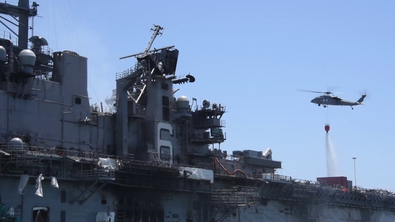 USS BonHomme Richard (LHD 6) Firefighting Efforts, July 14th, 2020