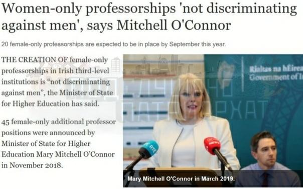 Профессура, включающая только женщин, это не дискриминация против мужчин (c перевод.Там квота сразу в 45 месть для именно шкур. Просто тупо, если ты родился с яйцами и ты даже Альберт