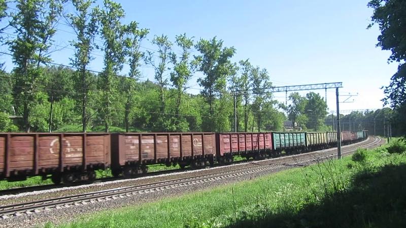Электровоз ВЛ10У-1003 с грузовым поездом перегон Латышская-Нара 25.05.2018