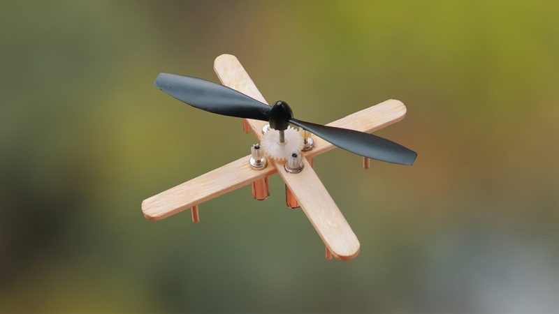 How to make Flying Helicopter with 4 DC motor Helicopter Propeller
