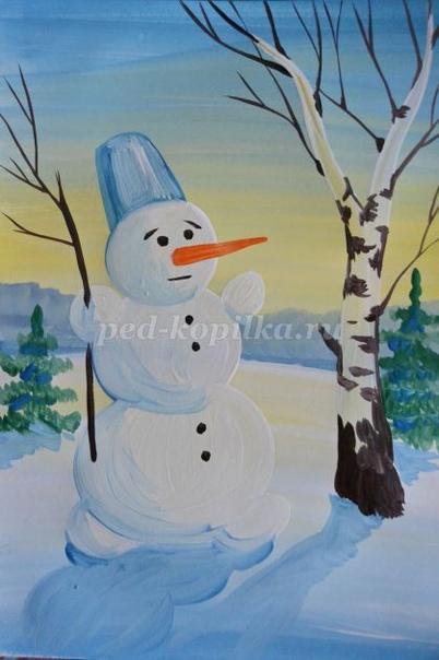 Снеговик гуашью Автор: Надеенская Елена Алексеевна