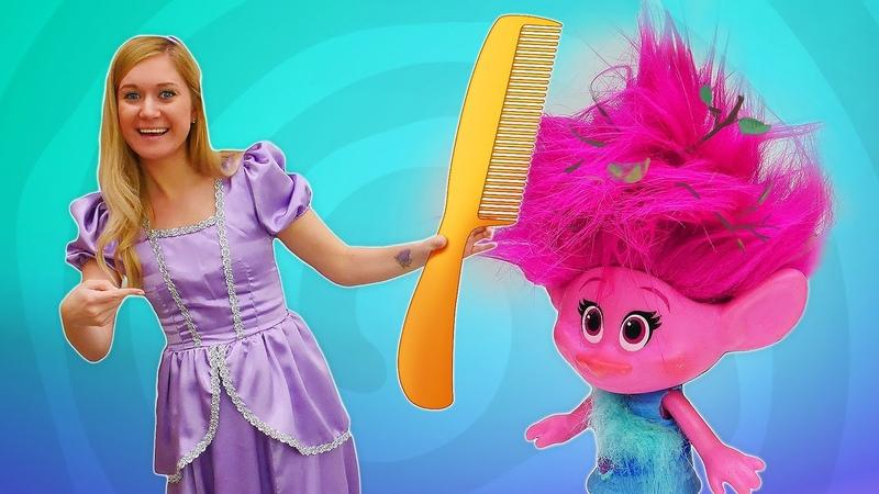 El salón de belleza de la princesa Sofía. La muñeca Poppy Trolls y otros juguetes. Vídeos para niñas