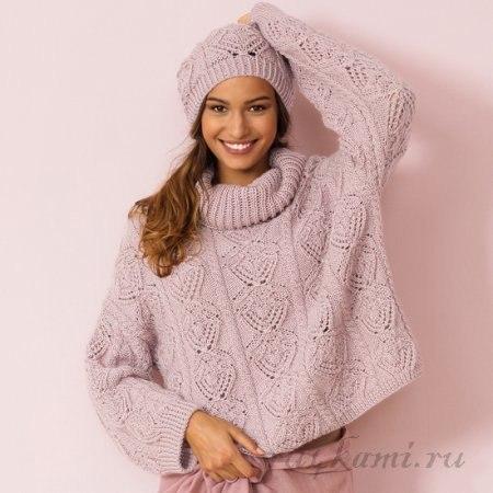 Вяжем на весну спицами! Розовый свитер ажурным узором!