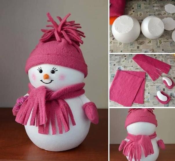 МИЛЫЙ СНЕГОВИЧОК пенопластовые шары ( продаются в магазинах для творчества/шитья), фетр