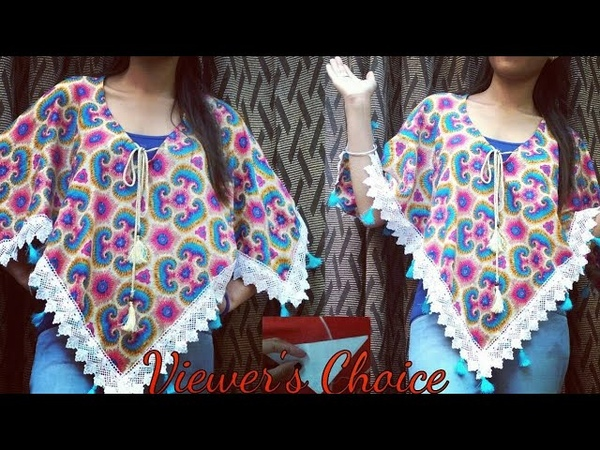 5 Min DIY Convert Old Scarf Stole Dupatta into Trendy Poncho Top 5 Minute craft reuseoldclothes