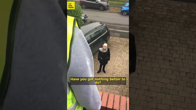 Crazy old lady rages at builders