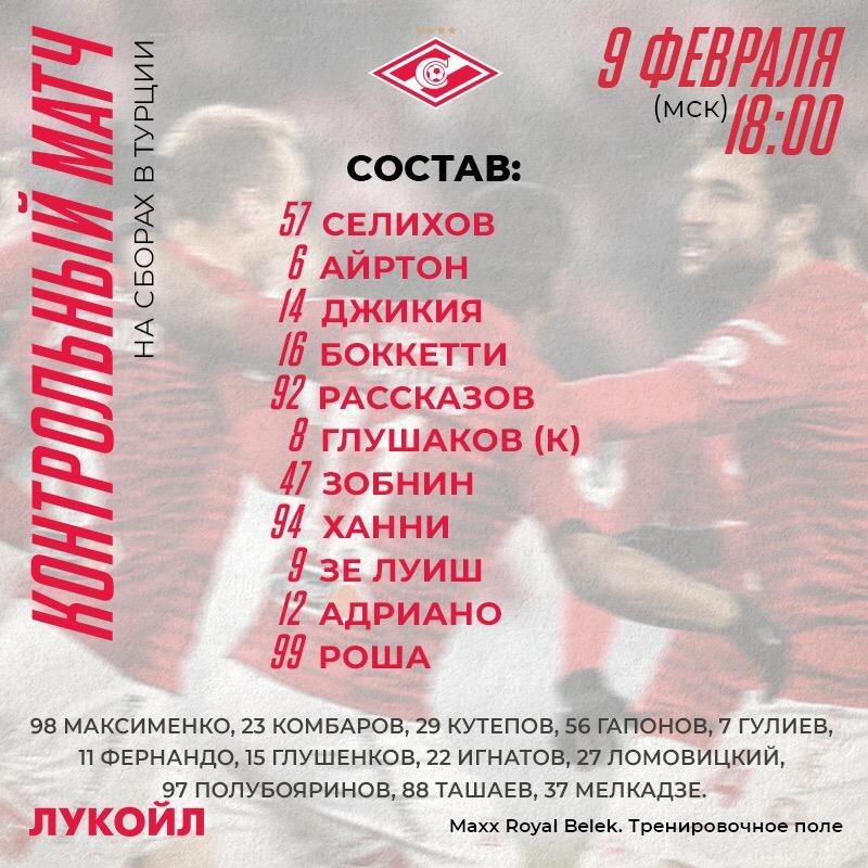 Состав «Спартака» на матч со «Слованом»